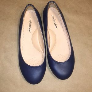 Women's ComfortView Navy Blue Flats size 7W